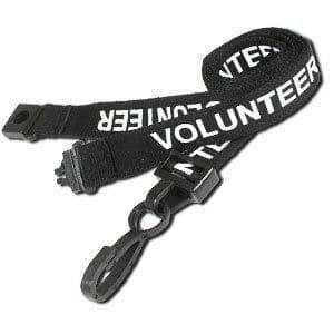 Black VOLUNTEER lanyards, 25 Pack